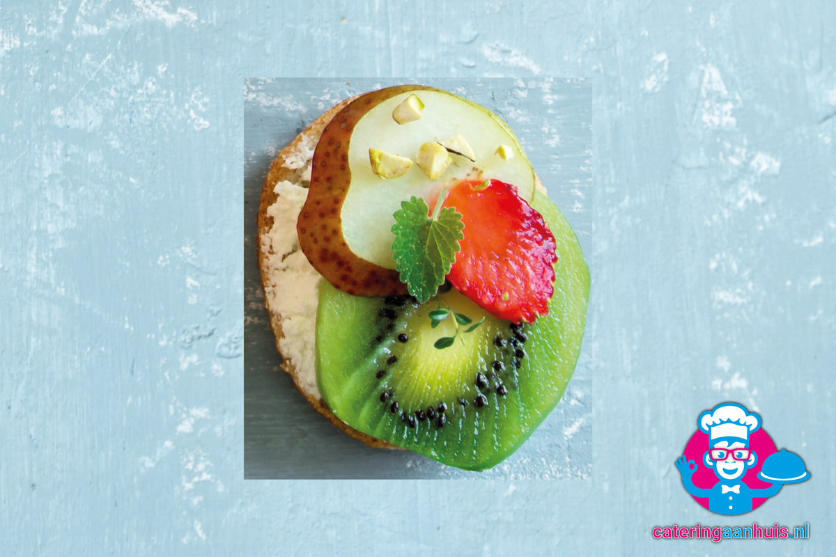 Canape peer kiwi gezond hapjes catering aan huis