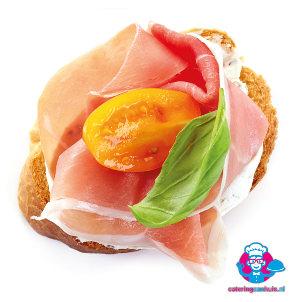 crostini gedroogde ham makkelijk catering aan huis