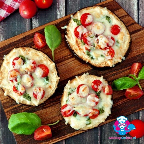 Mini vegetarische pizza aubergine catering aan huis
