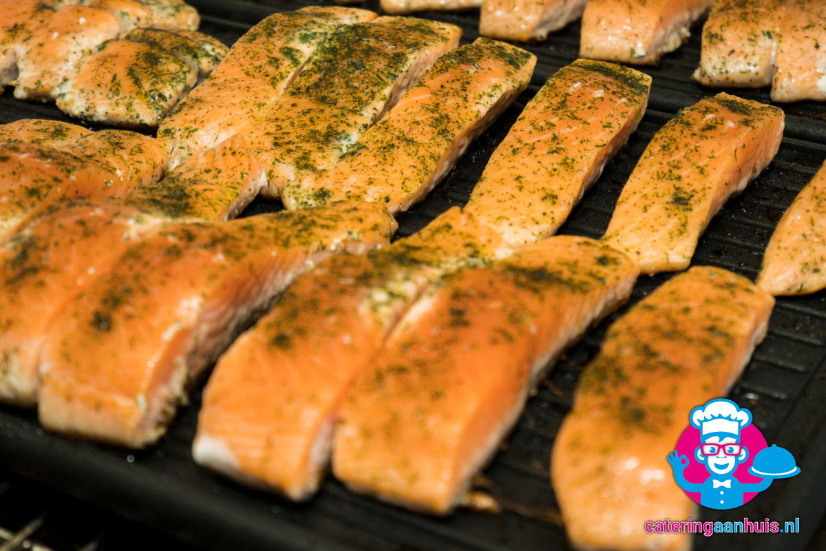 zalm barbecue buffet - catering aan huis