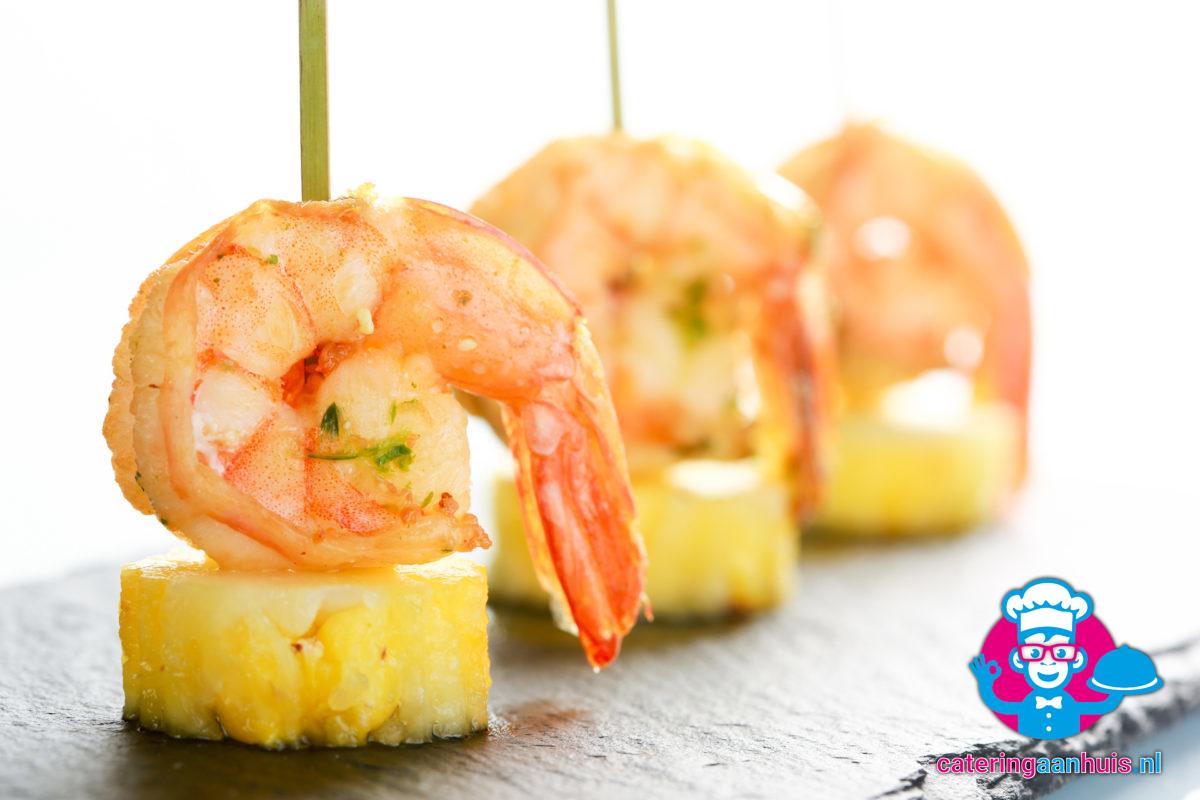 zoete garnalen met ananas - Braziliaans buffet Catering aan huis